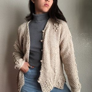 Vintage Popcorn Textured Hand Knit Sweater